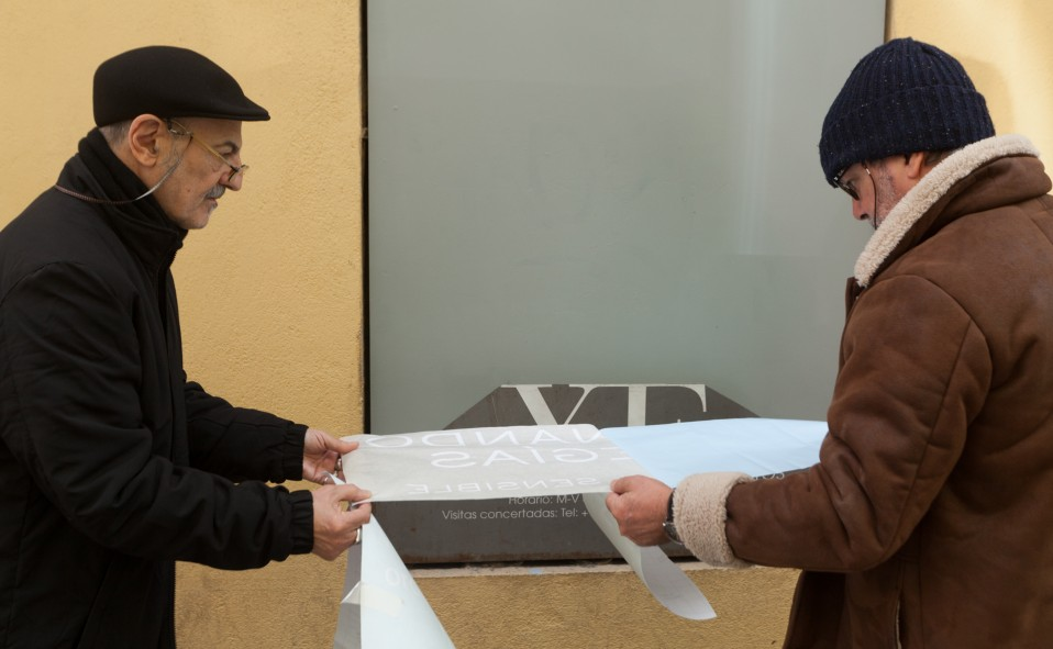 "Madrid XF Proyectos montaje exposición ""Material sensible"" Fernando Megías"