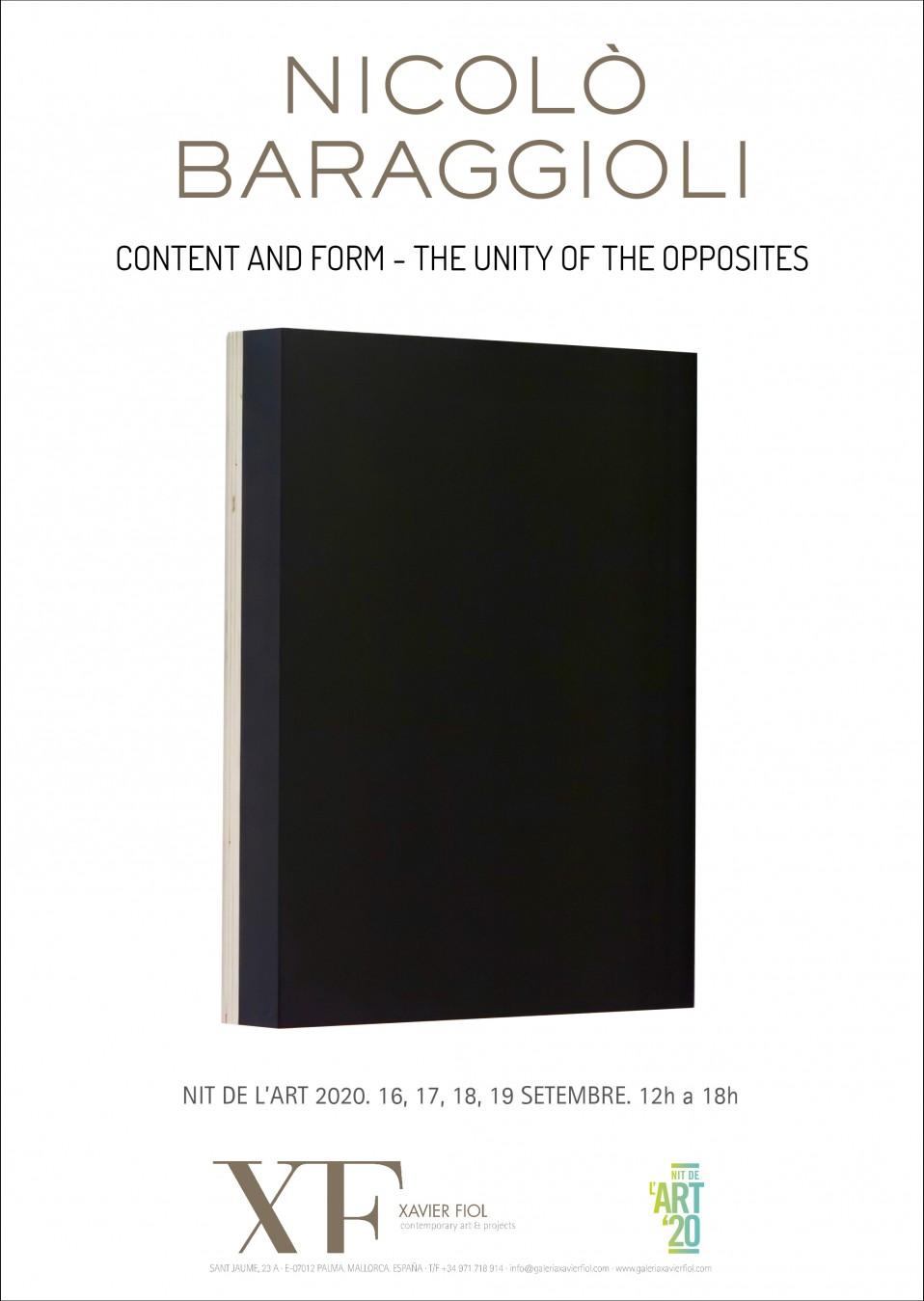 """Galería XF próxima exposición: NICOLÒ BARAGGIOLI  """"Content and form – The unity of the opposites"""". 16, 17, 18 y 19 septiembre. Nit de l'Art 2020. 12h a 18h."""