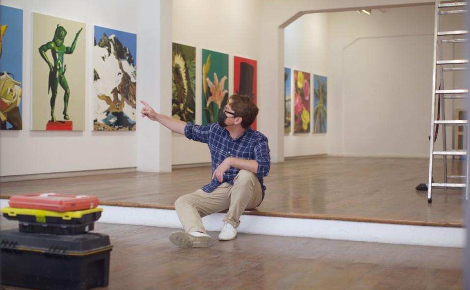 """Montaje de la exposición Tomàs Pizà """"El Robinsoner"""". Art Palma Brunch 2021"""