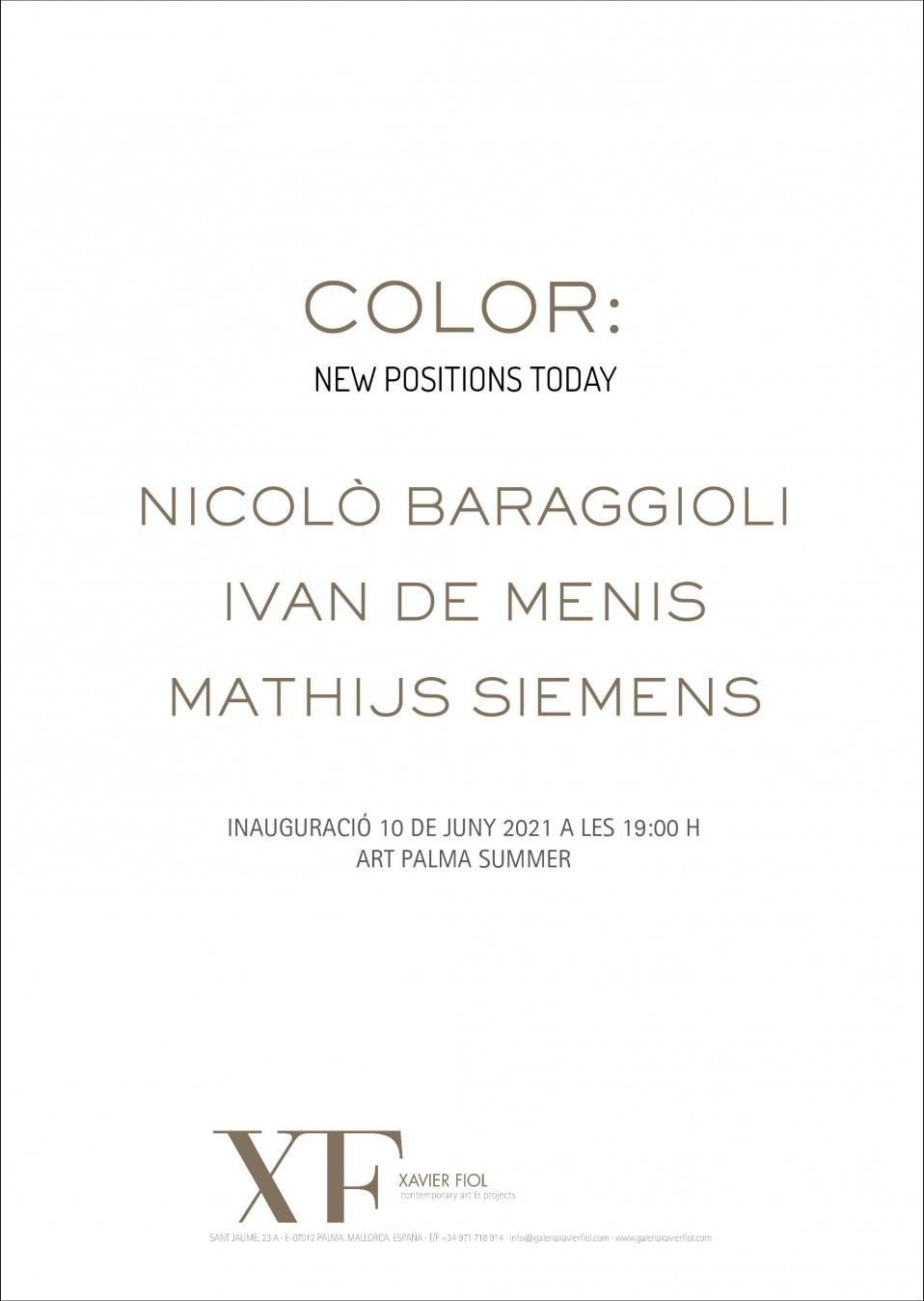 """Galería XF próxima exposición: """"COLOR"""" Nicolò Baraggioli · Ivan de Menis · Mathijs Siemens Art Palma Summer 2021"""