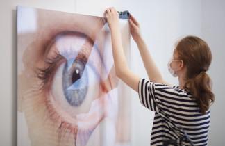 Galería XF montaje de la próxima exposición: «Press here» Marta Pujades. Nit de l'Art 2021. Inauguració 16 – 18 setembre