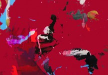 ATLAS (deep red) 72 x 52 cms. Mixta sobre metacrilato.